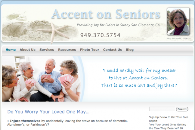 Accent on Seniors Website Design