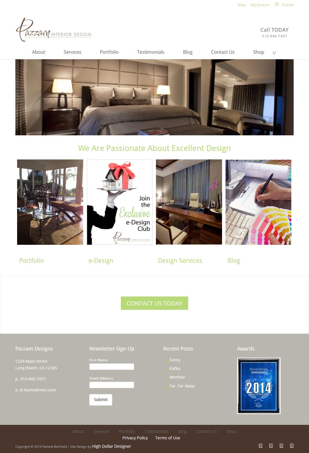 Pazzam Interior Design Website Design